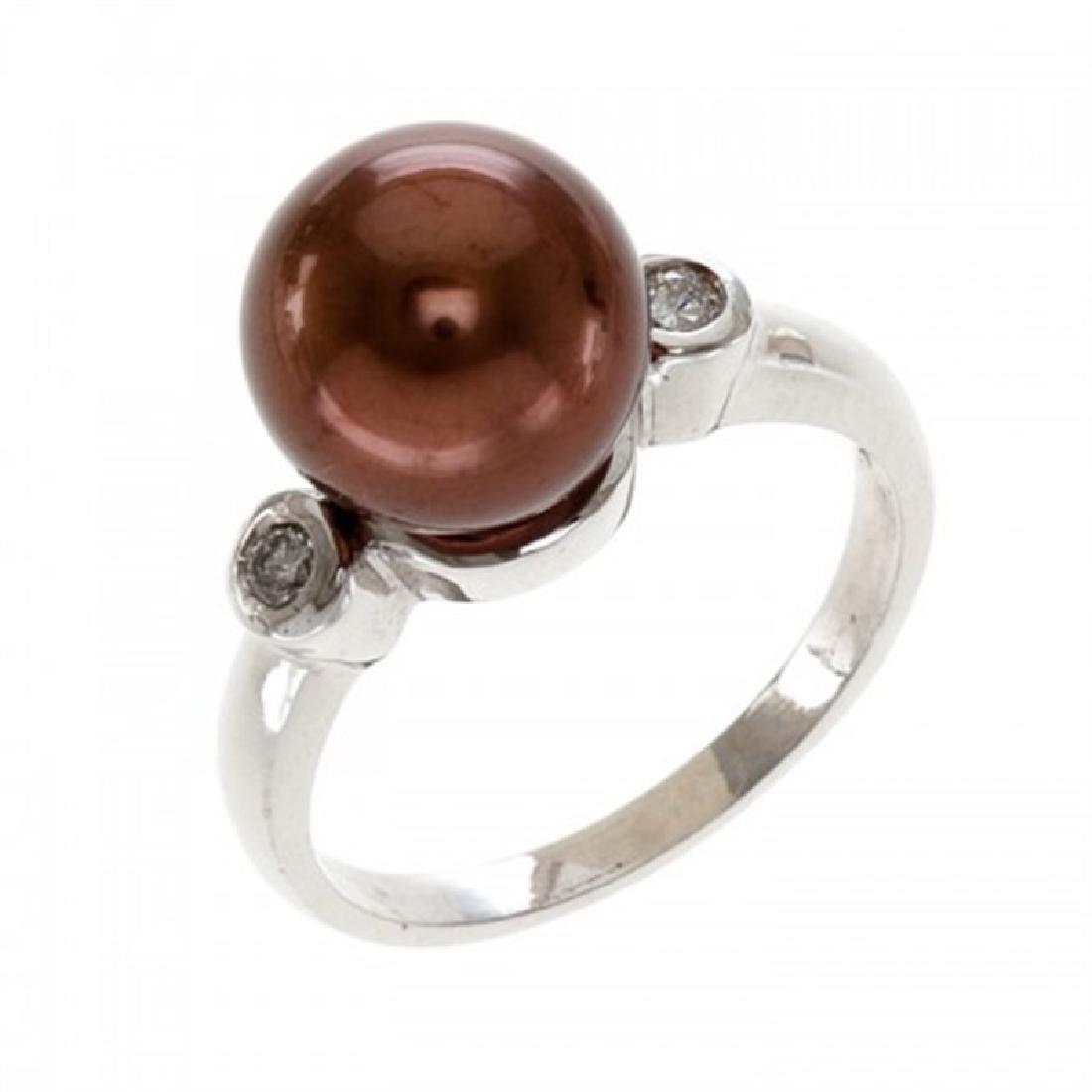 10.0-10.5mm Chocolate Tahitian Ring with Diamonds