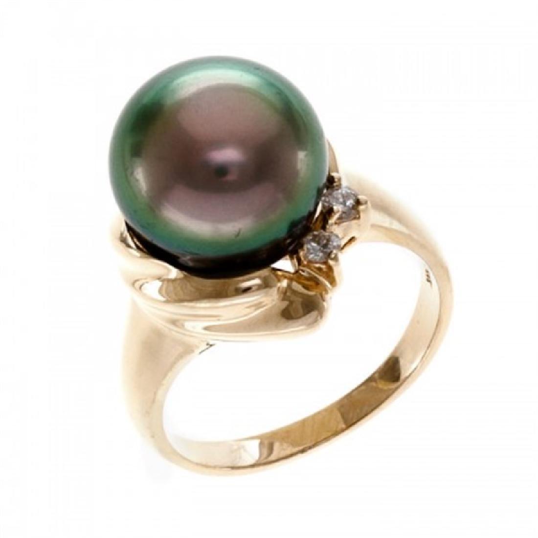 11.5-12.0mm Tahitian Black Pearl Ring with Diamond