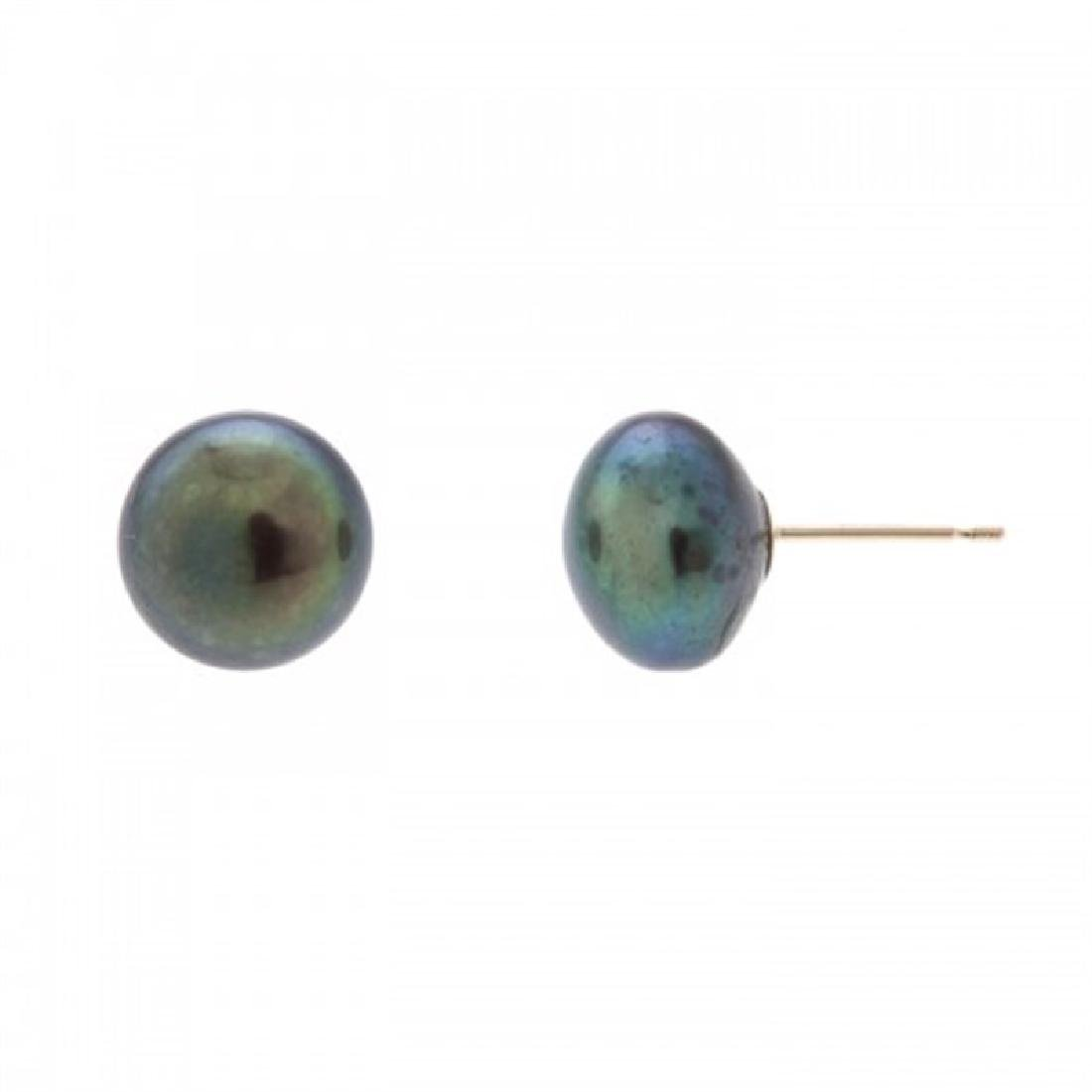 9.0-9.5mm Freshwater Black Pearl Stud Earrings