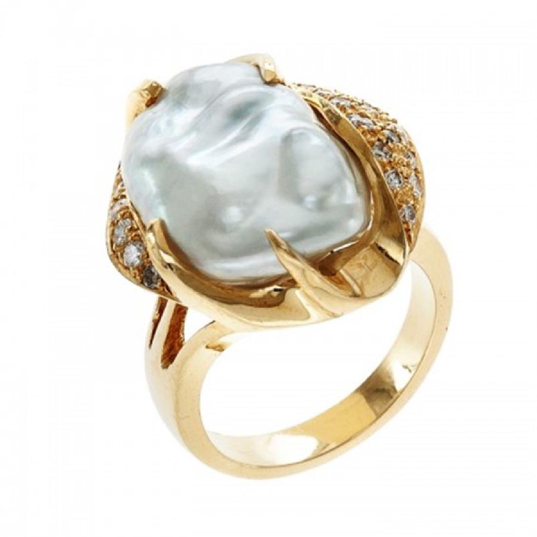 Keshi Pearl Ring with Diamonds