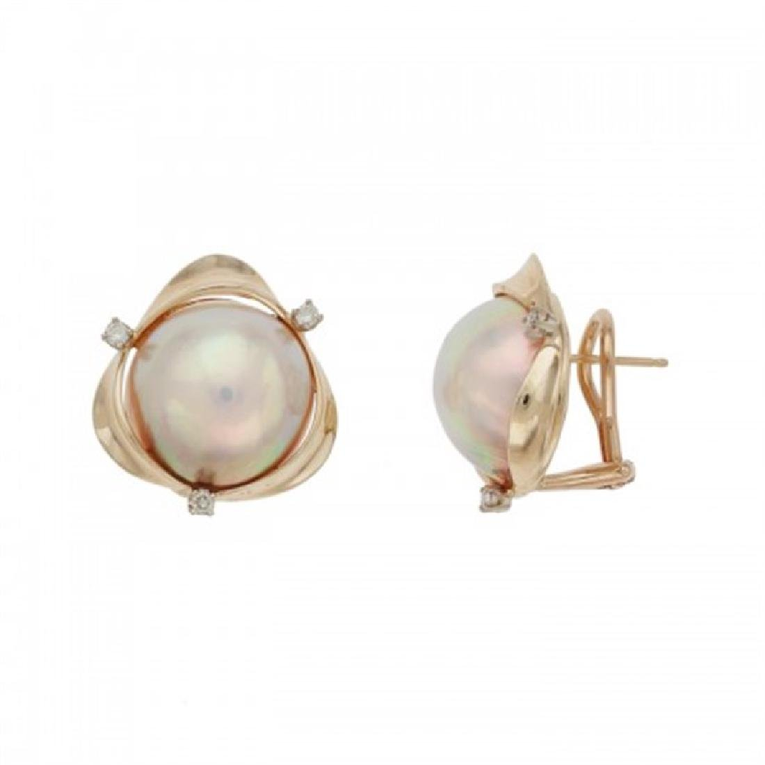 15.0-15.5mm Mabe Pearl Earrings with Diamond