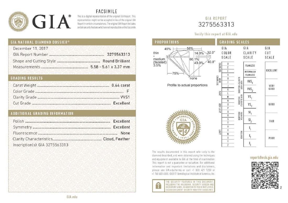 GIA/Round/F/VVS1/0.64ct
