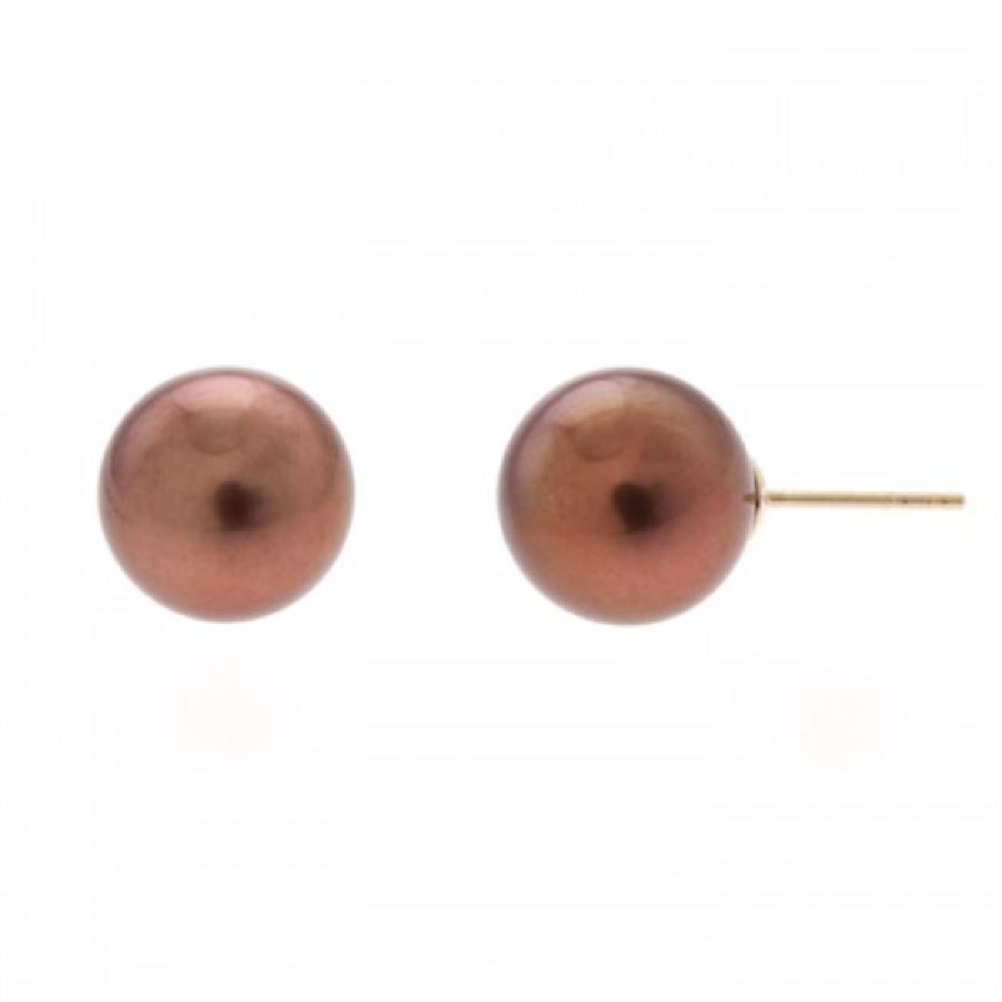 11.0-11.5mm Chocolate Tahitian Pearl Stud Earrings