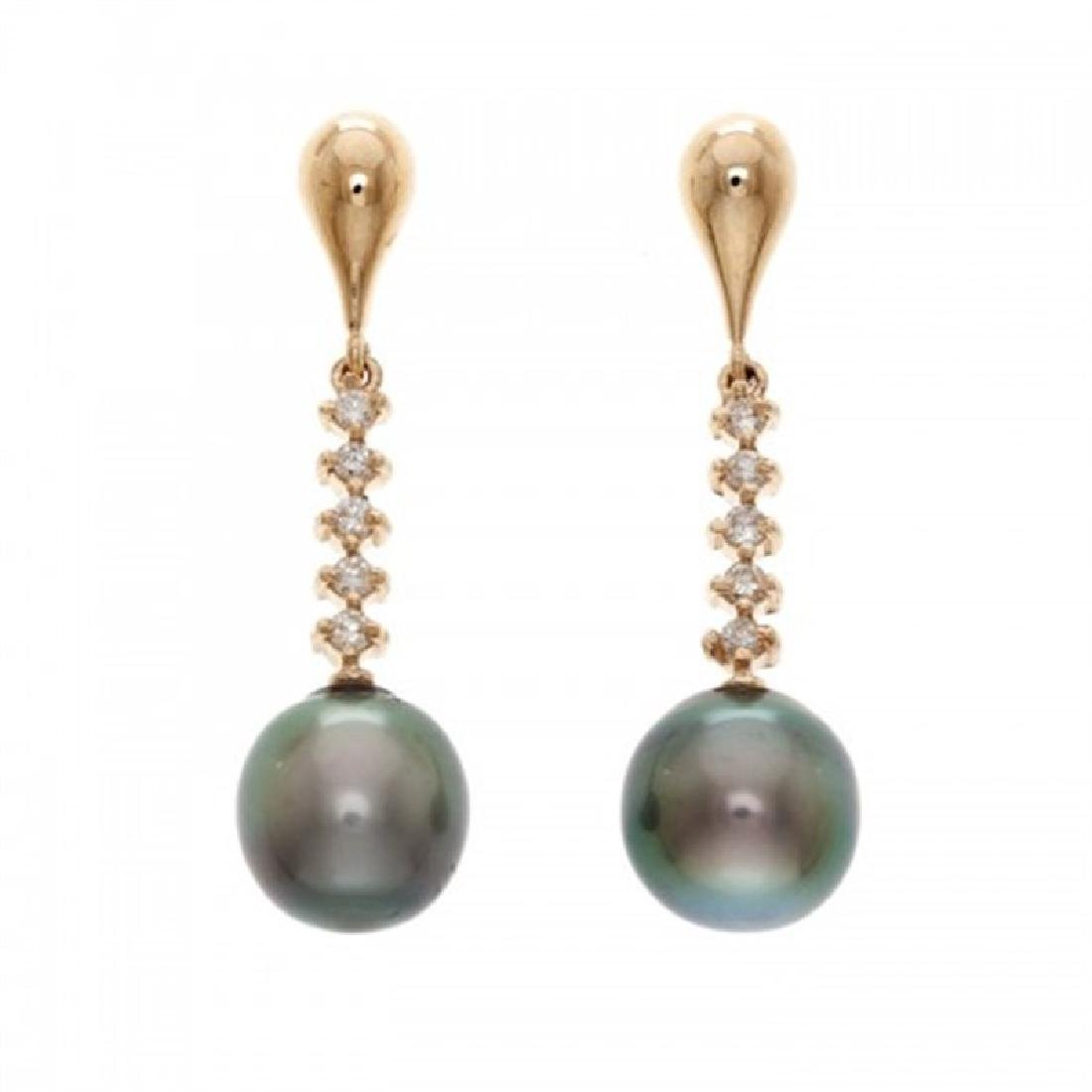 10.0-11.0mm Tahitian Pearl Earrings with Diamonds