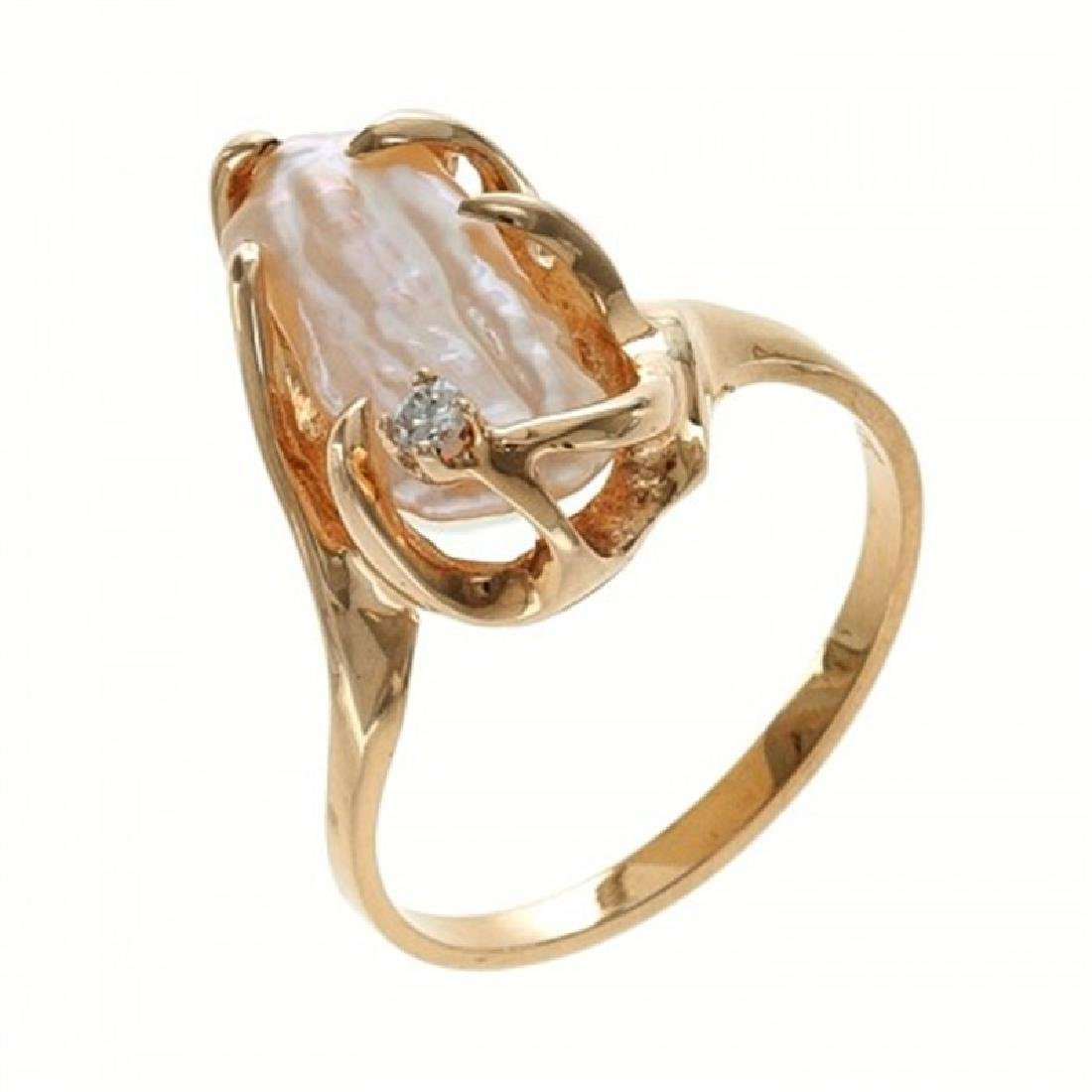 Biwa Pearl Ring with Diamond