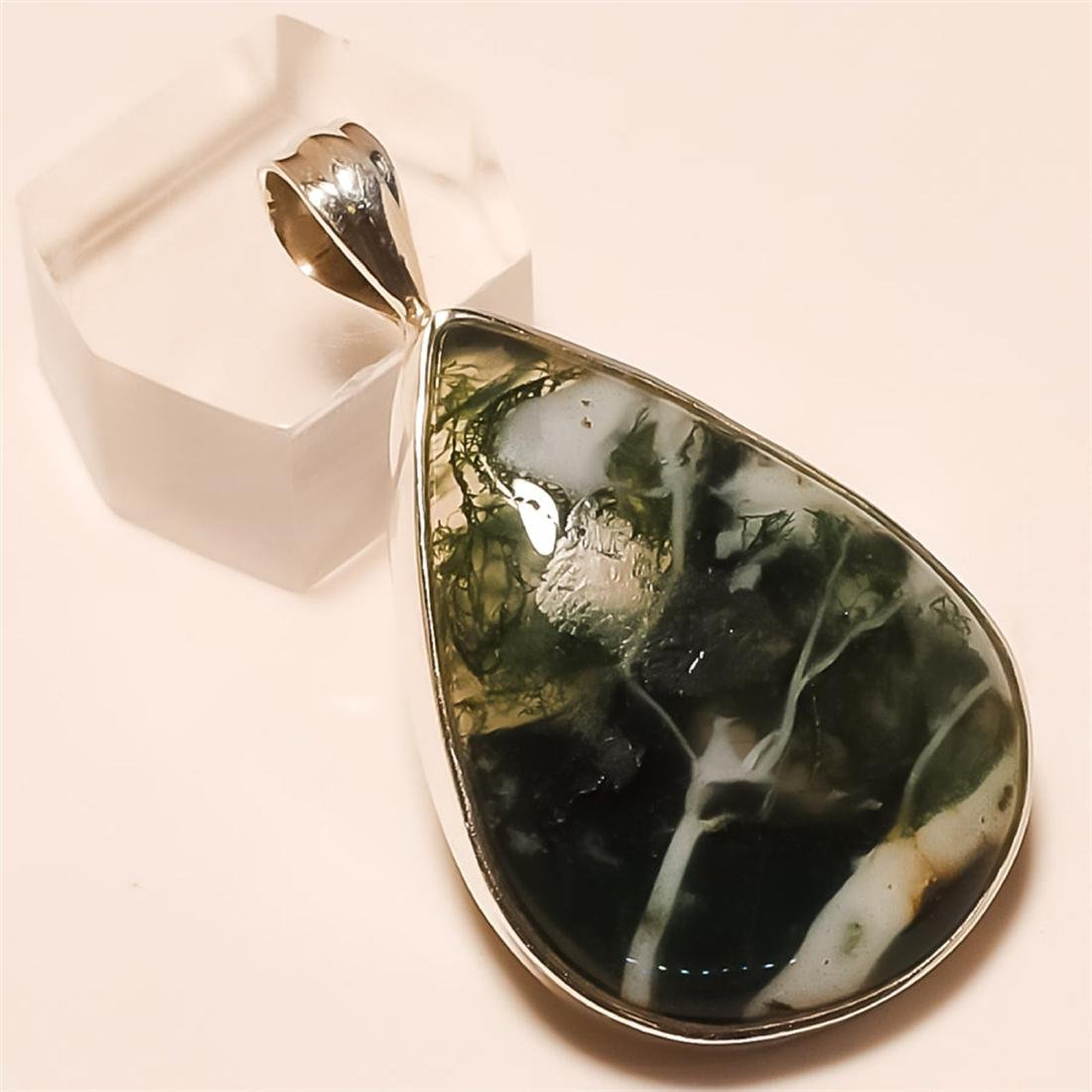 Moss Agate Pendant Solid Sterling Silver
