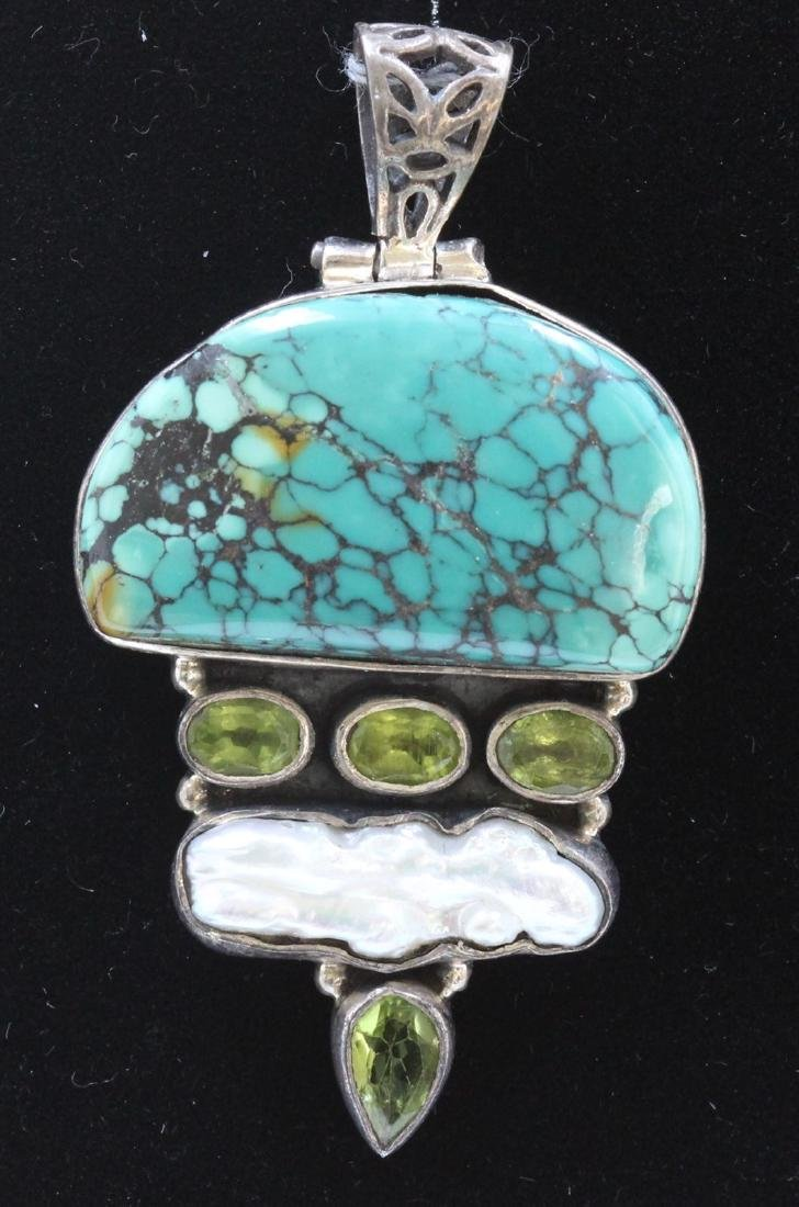 Sterling Silver .925 Turquoise Pendant with light green