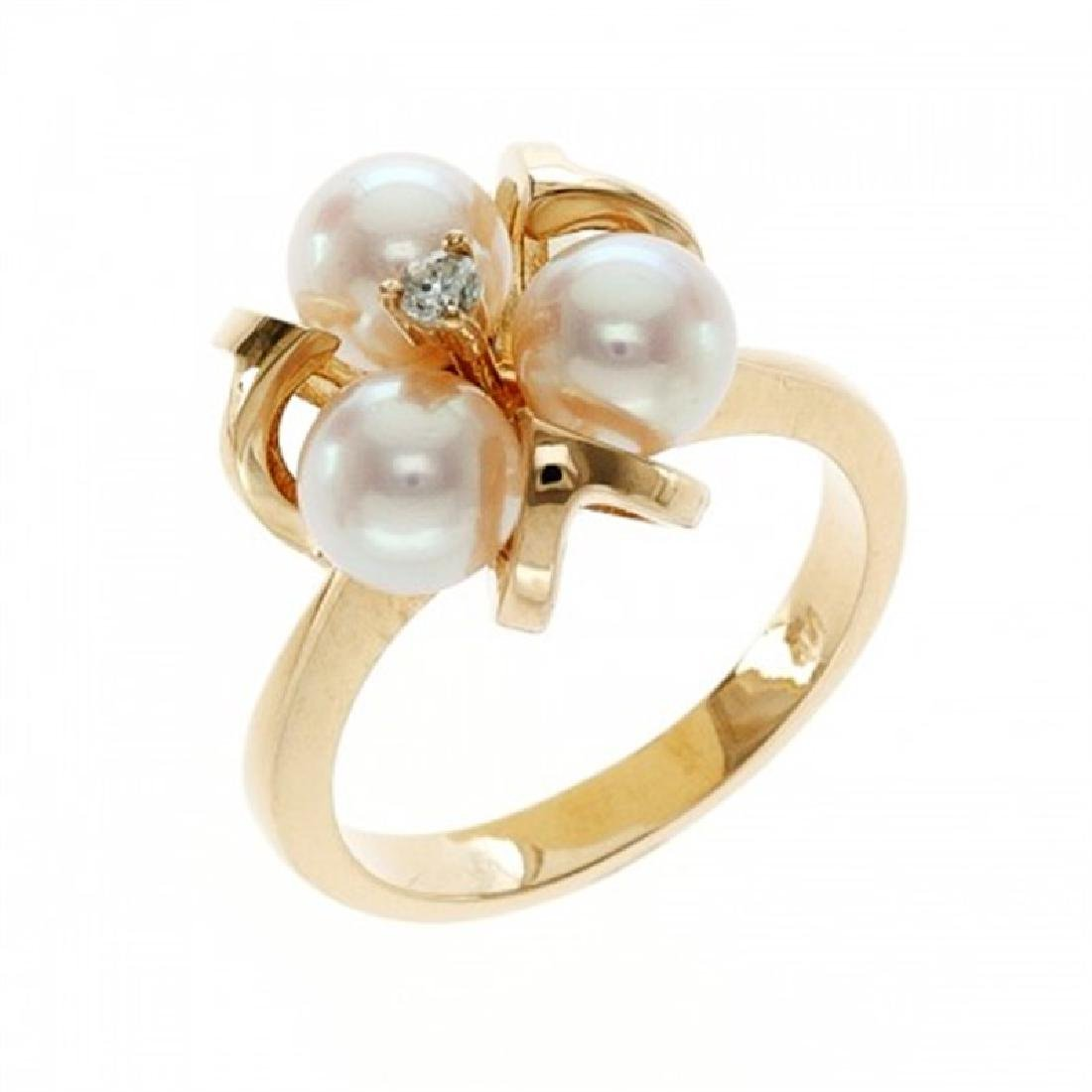 6.0-6.5mm Japanese Akoya Pearl Ring with Diamond