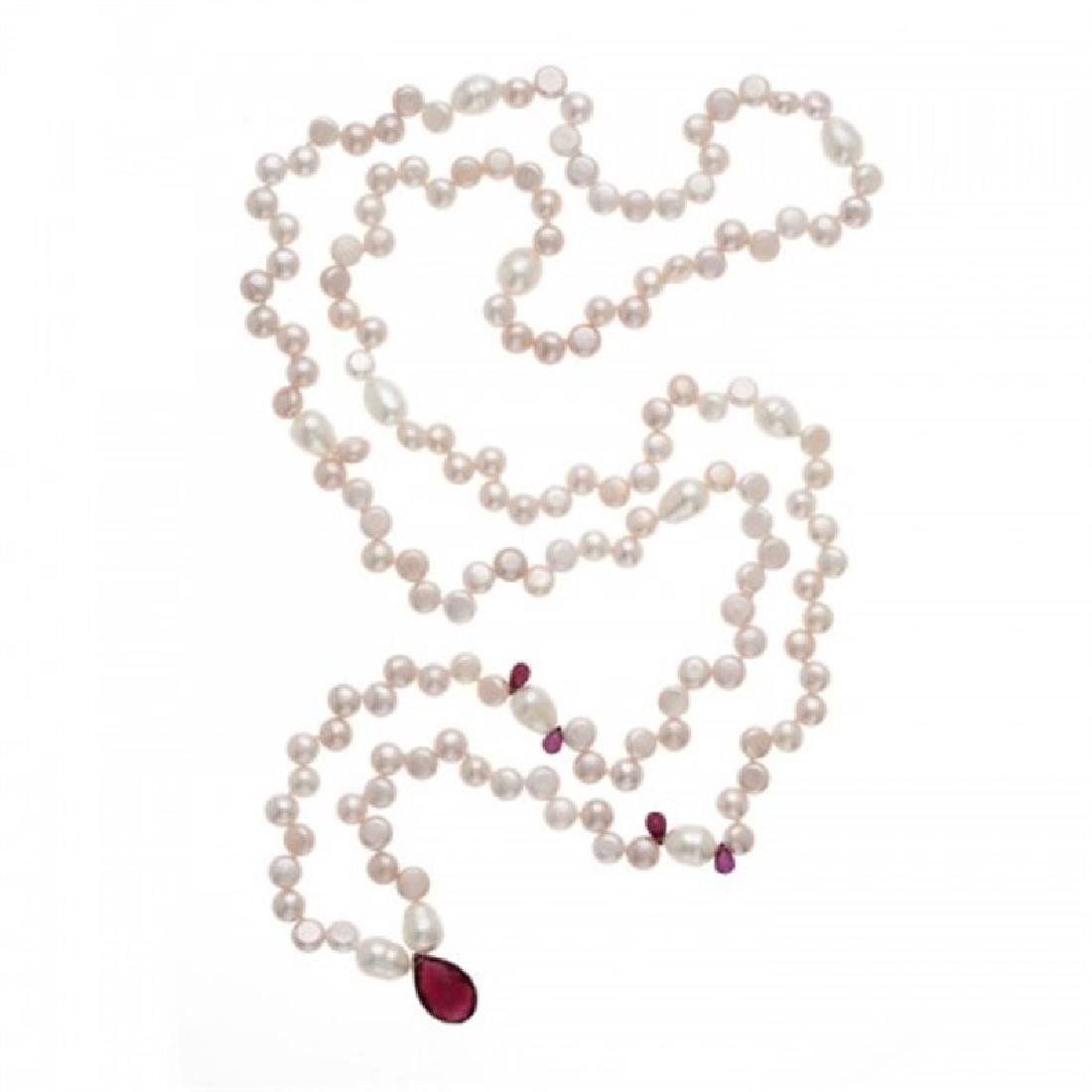 6.0-6.5mm Freshwater Pearl Necklace with Garnet