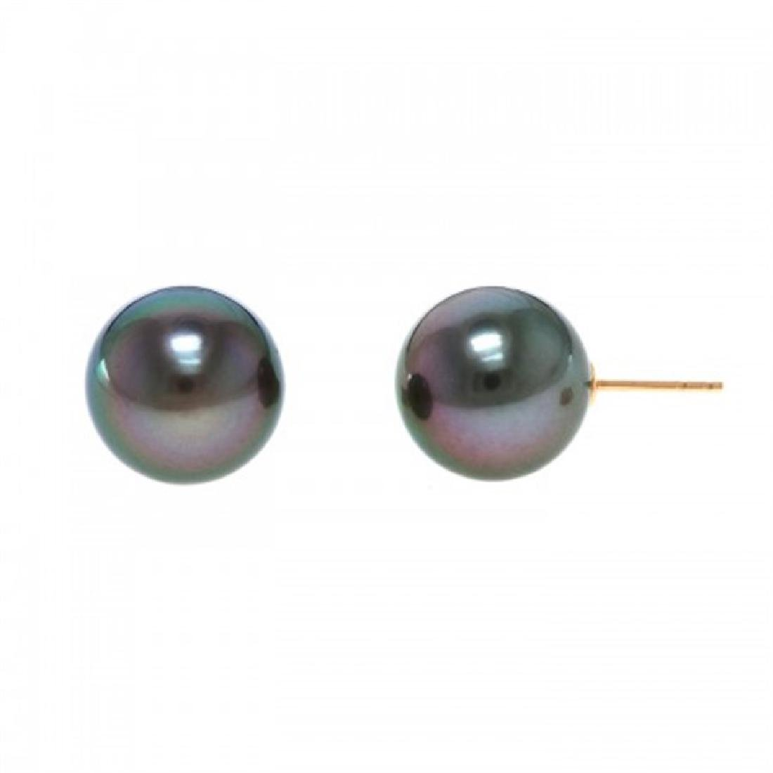 12.5-13.0mm Tahitian Black Pearl Stud Earrings