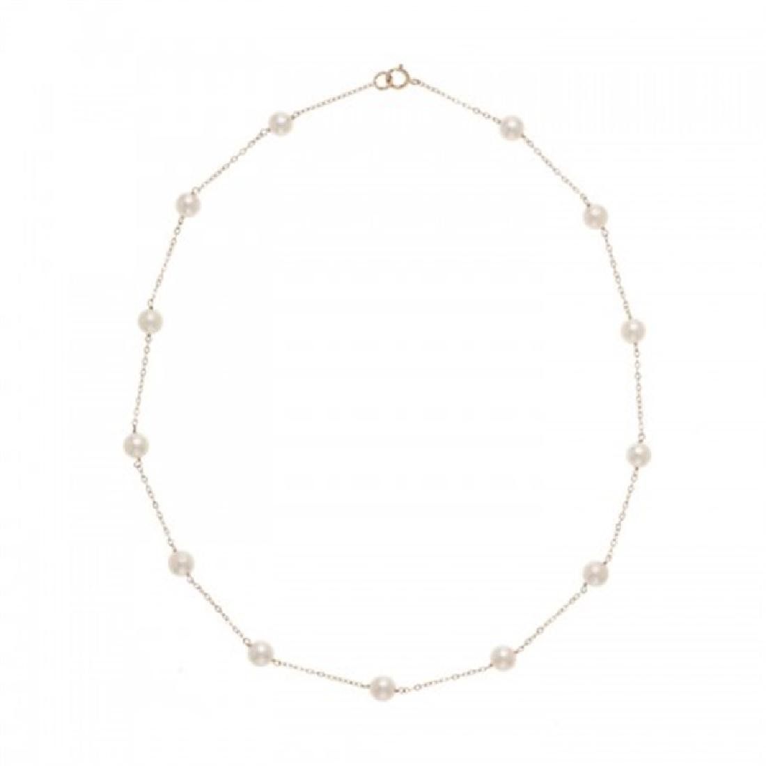 6.0-6.5mm Japanese Akoya Tin Cup Pearl Necklace