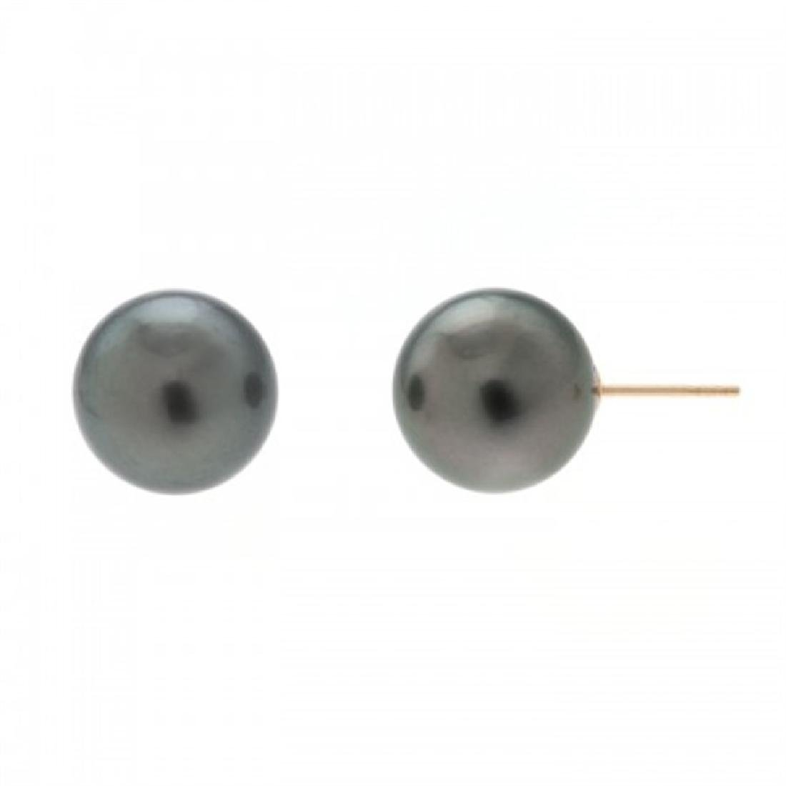 12.0-12.5mm Tahitian Black Pearl Stud Earrings