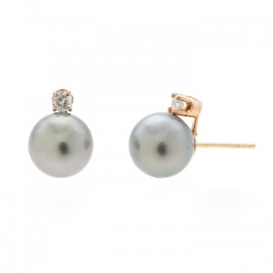 9.0-9.5mm Tahitian Pearl Earrings with Diamond