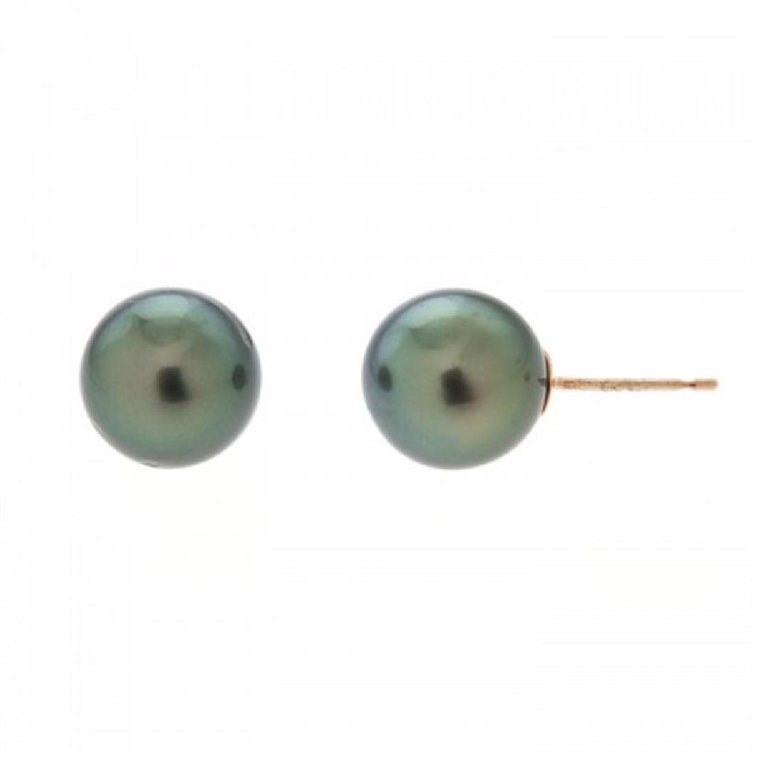 8.5-9.0mm Tahitian Black Pearl Stud Earrings