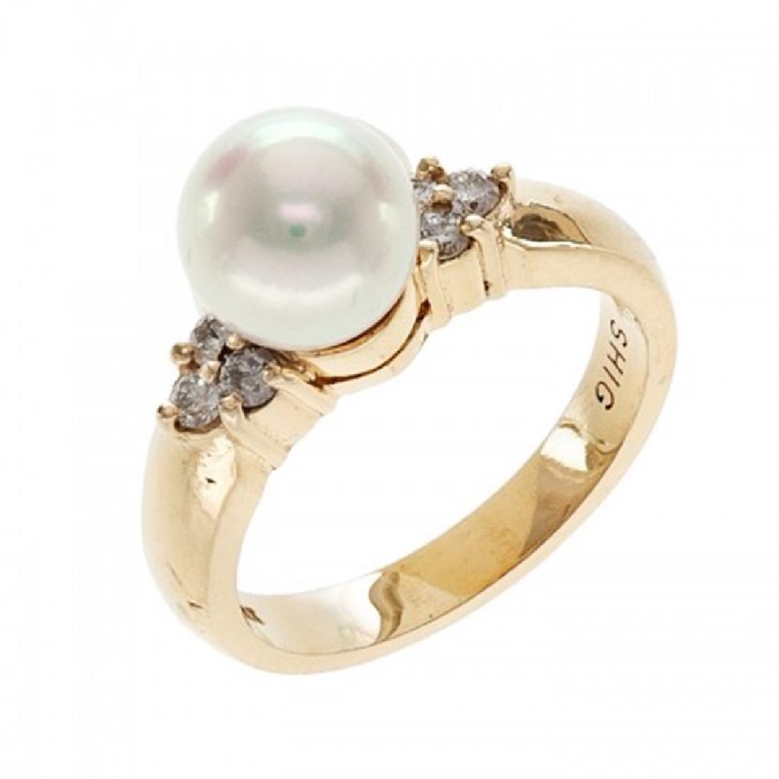 8.0-8.5mm Japanese Akoya Pearl Ring with Diamonds