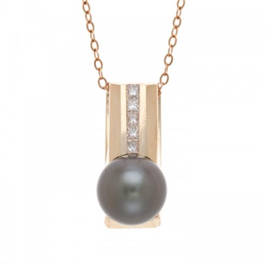 9.5-10.0mm Tahitian Black Pendant with Diamonds