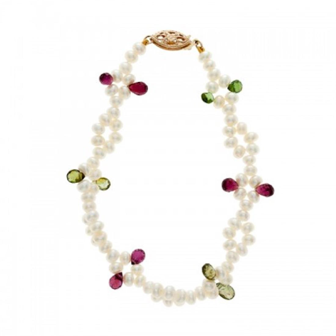 4.0-4.5mm Freshwater Pearl Bracelet with Tourmaline