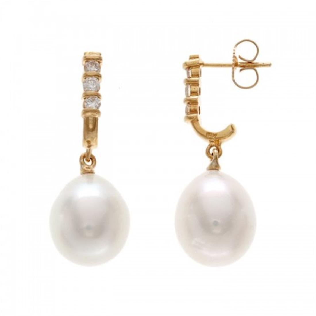 11.0-11.5mm South Sea Earrings with Diamonds