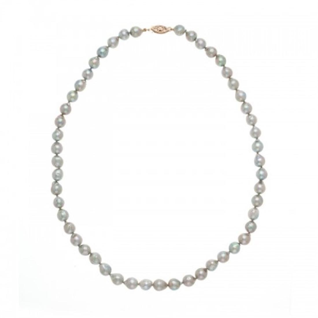 7.0-7.5mm Akoya Baroque Grey Pearl Necklace