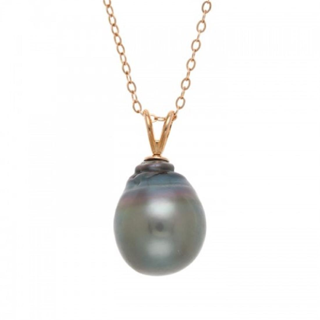12.5-13.0mm Tahitian Black Baroque Pearl Pendant