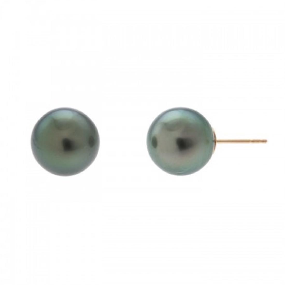 11.0-11.5mm Tahitian Black Pearl Stud Earrings