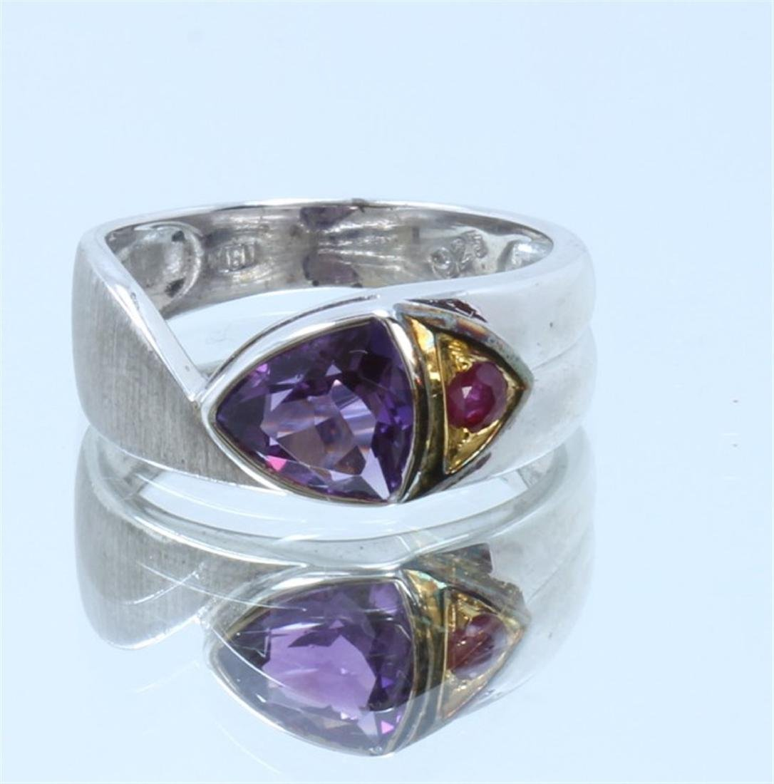 Sterling Silver .925 Amethyst w/ Ruby Ring Two Toned