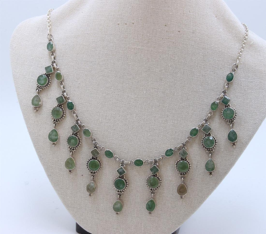 Sterling Silver .925 Vintage Necklace with Light Green