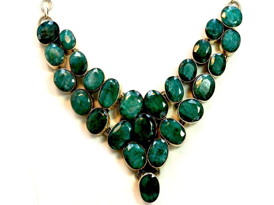 Sterling Silver .925 Emerald Beryl Necklace 84.16 gram