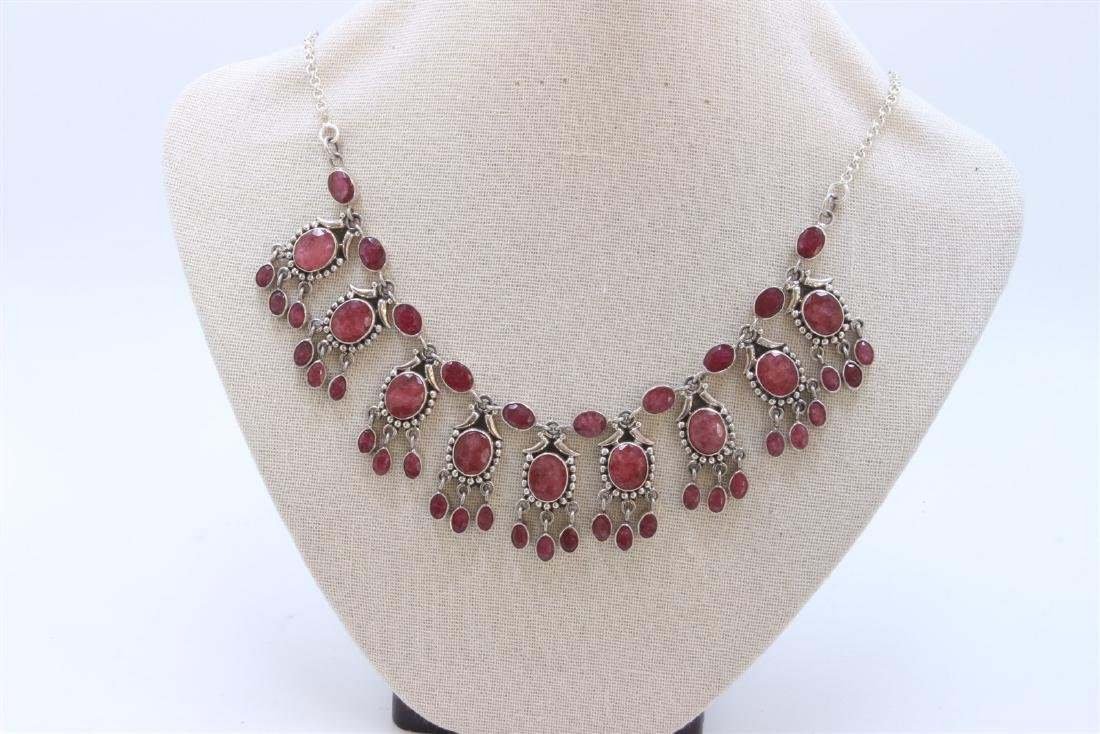 Sterling Silver .925  Ruby Necklace 62.18 gram