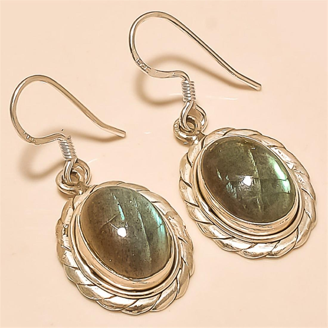 Labradorite Earring Solid Sterling Silver