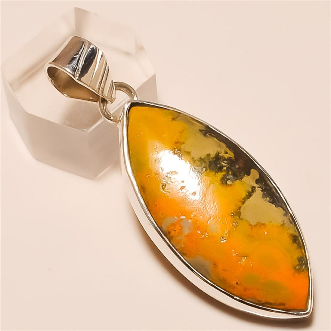 Bumble Bee jasper Pendant Solid Sterling Silver