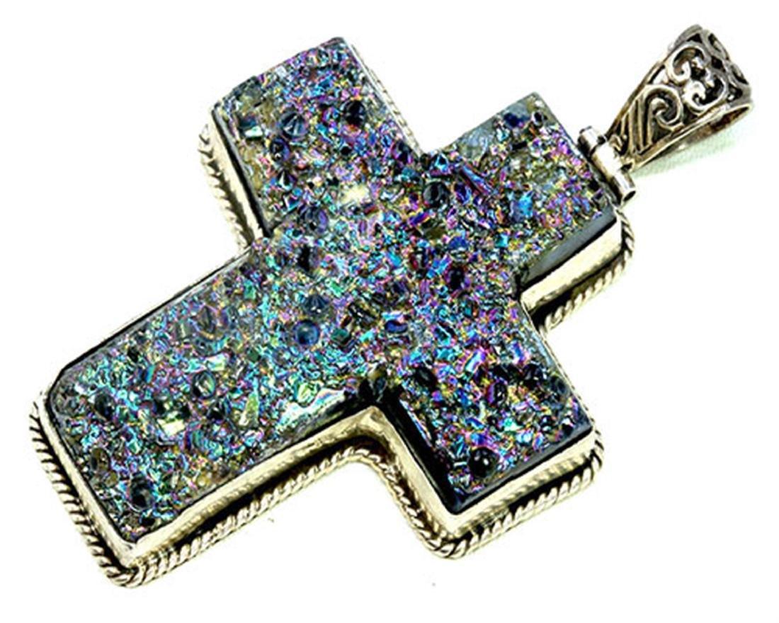Sterling Silver .925 Druzy Cross Pendant