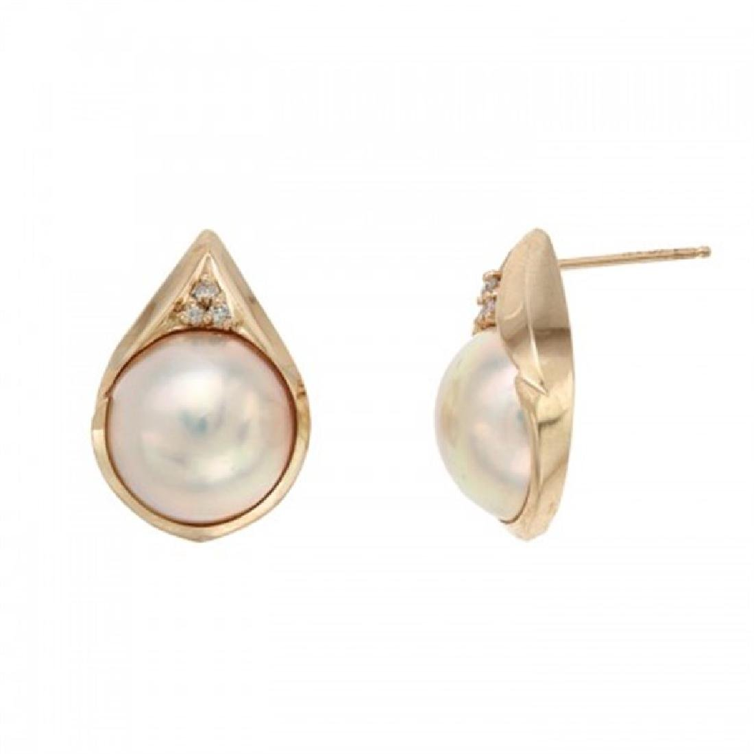 13.0-13.5mm Mabe Pearl Earrings with Diamonds
