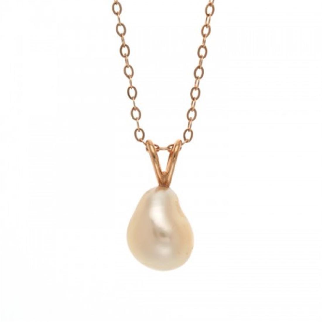 Golden Keshi Pearl Pendant