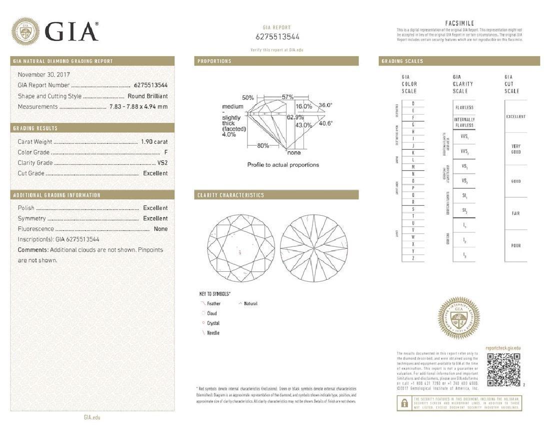 GIA/Round/F/VS2/1.9ct