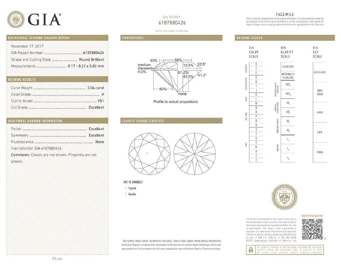 GIA/Round/H/VS1/2.06ct