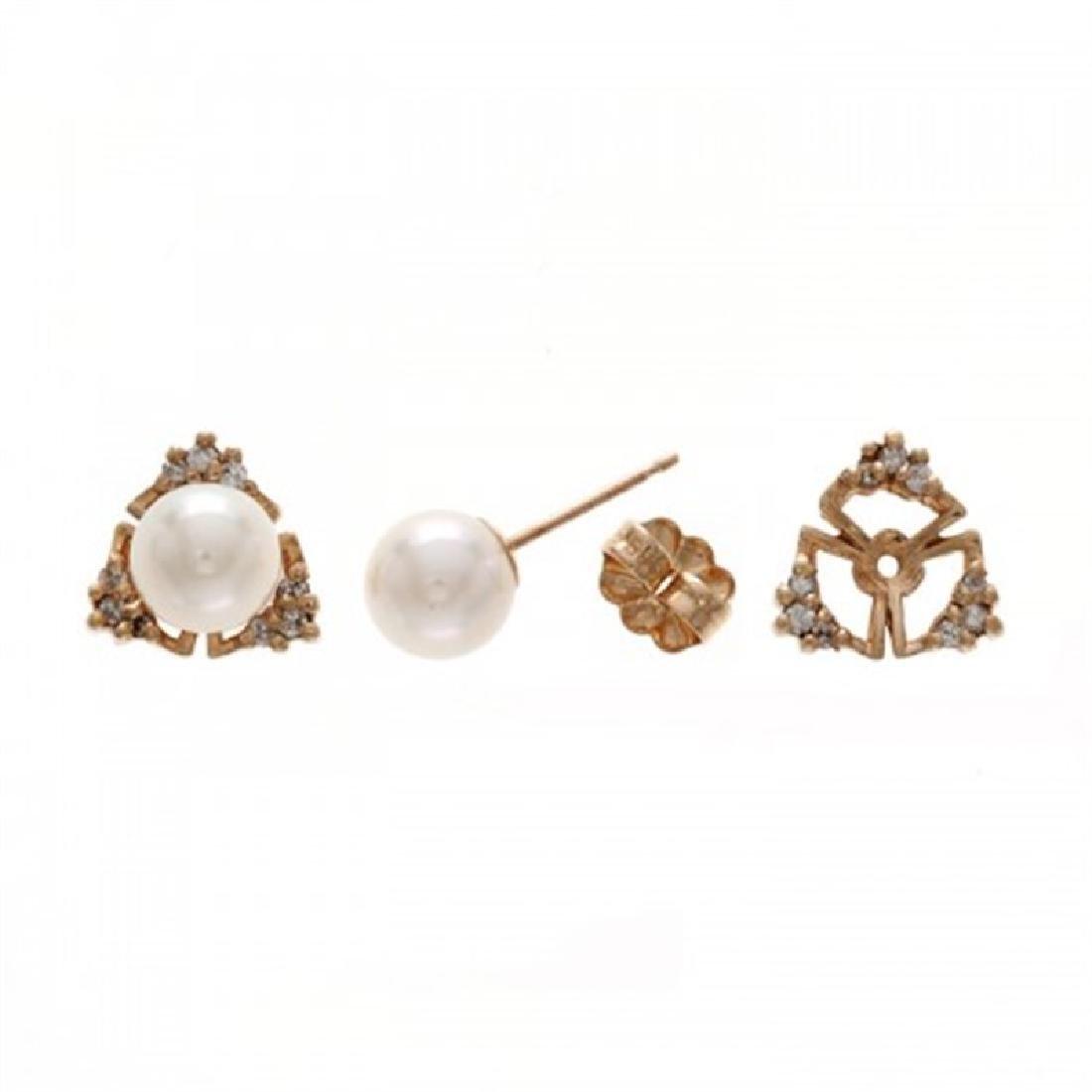 6.0-6.5mm Akoya Earrings with Diamond Jacket