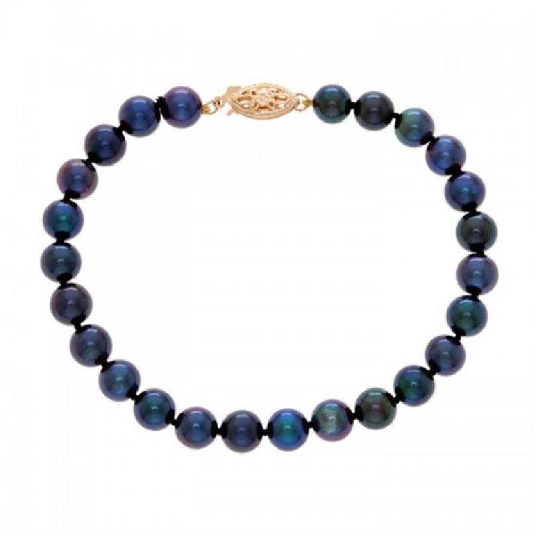 6.0-6.5mm Japanese Akoya Black Pearl Bracelet
