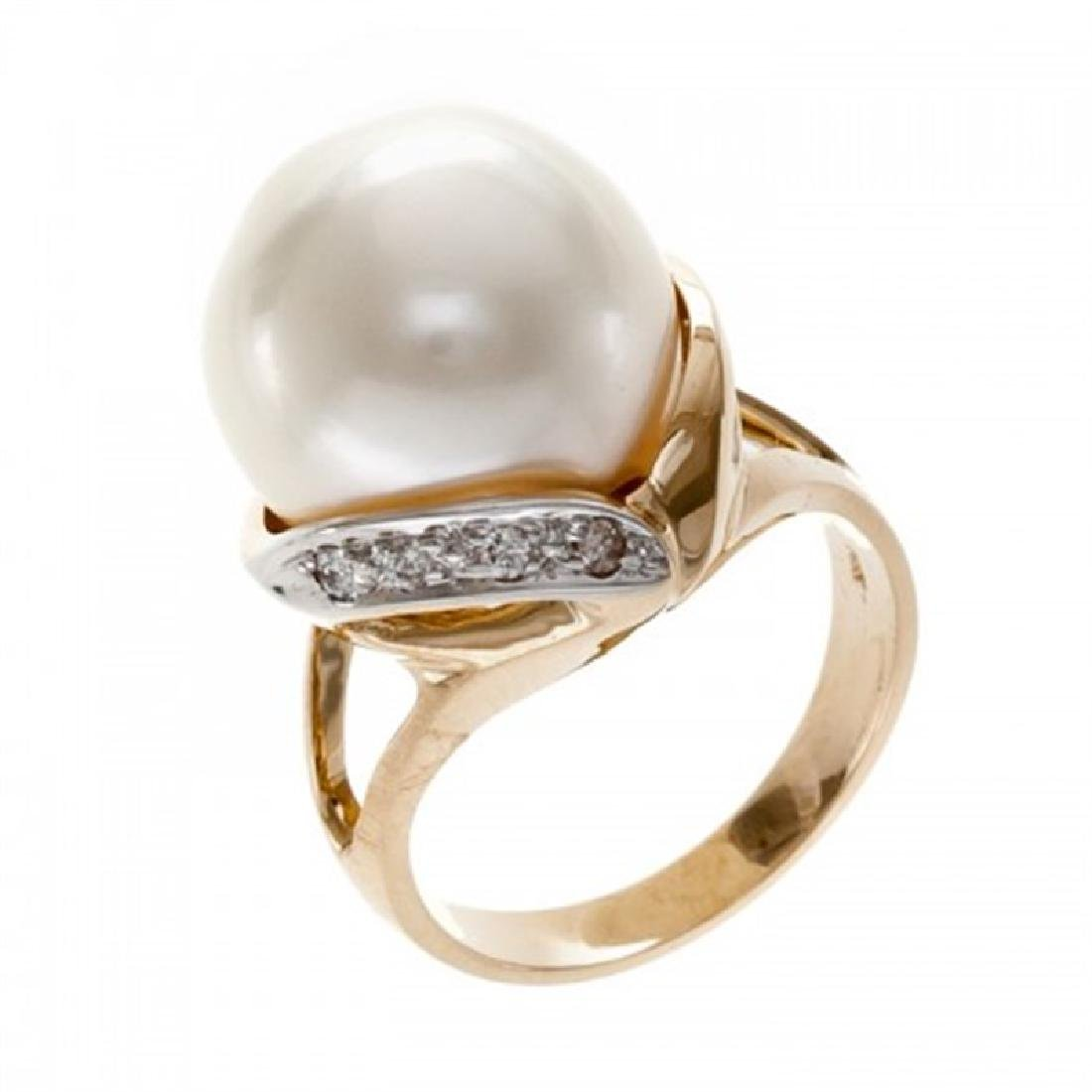 13.5-14.0mm South Sea Pearl Ring with Diamonds