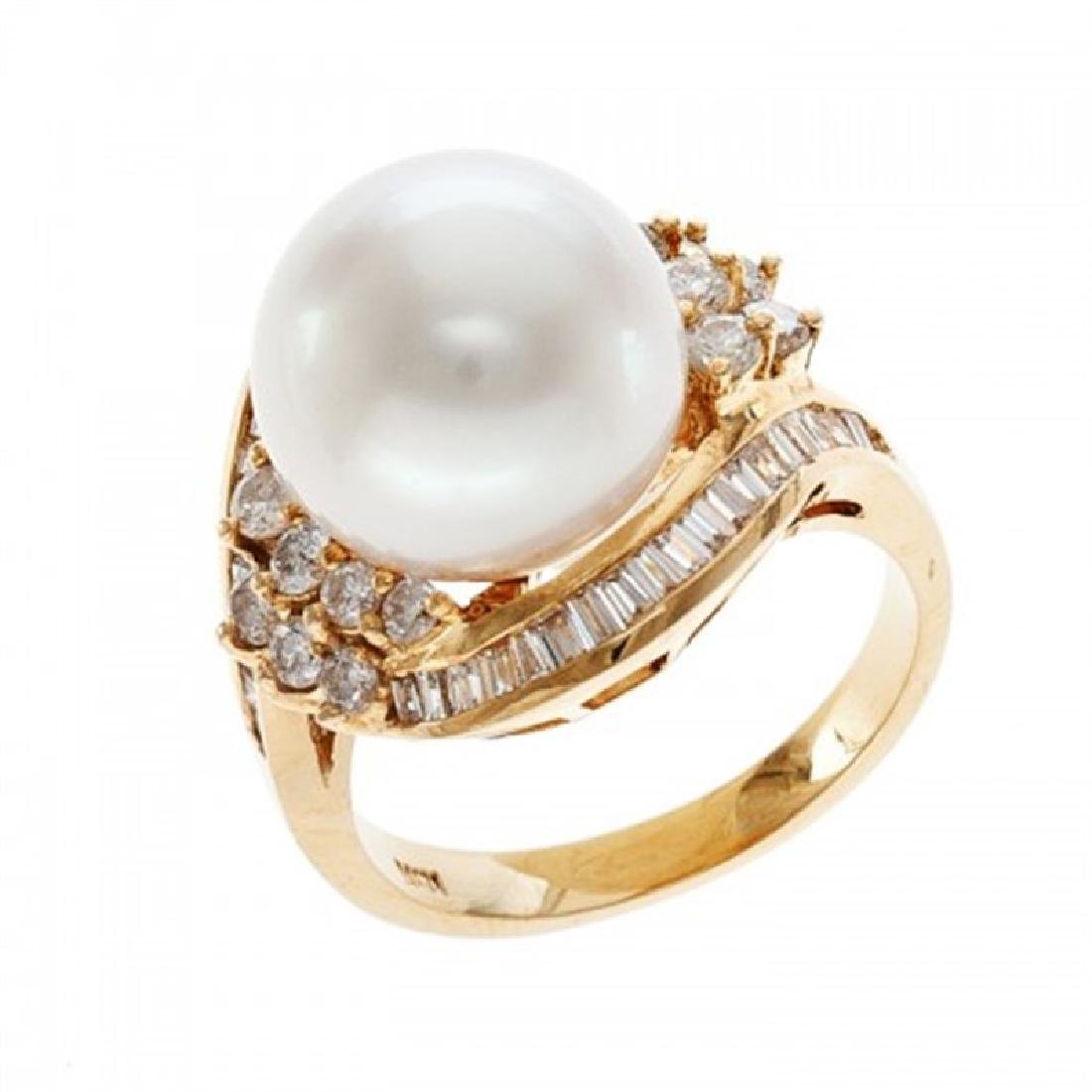 12.0-12.5mm South Sea Pearl Ring with Diamonds