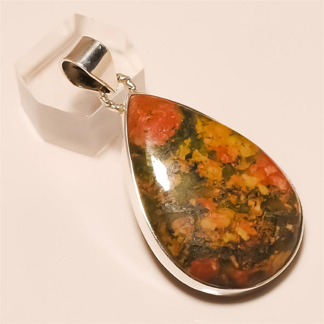 unakite Pendant Solid Sterling Silver