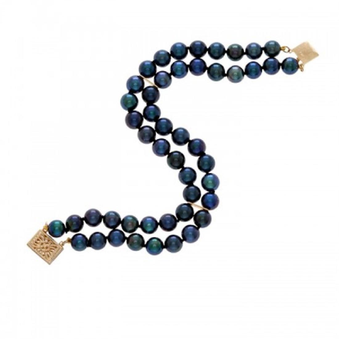 6.0-6.5mm Double Strand Japanese Akoya Black Pearl