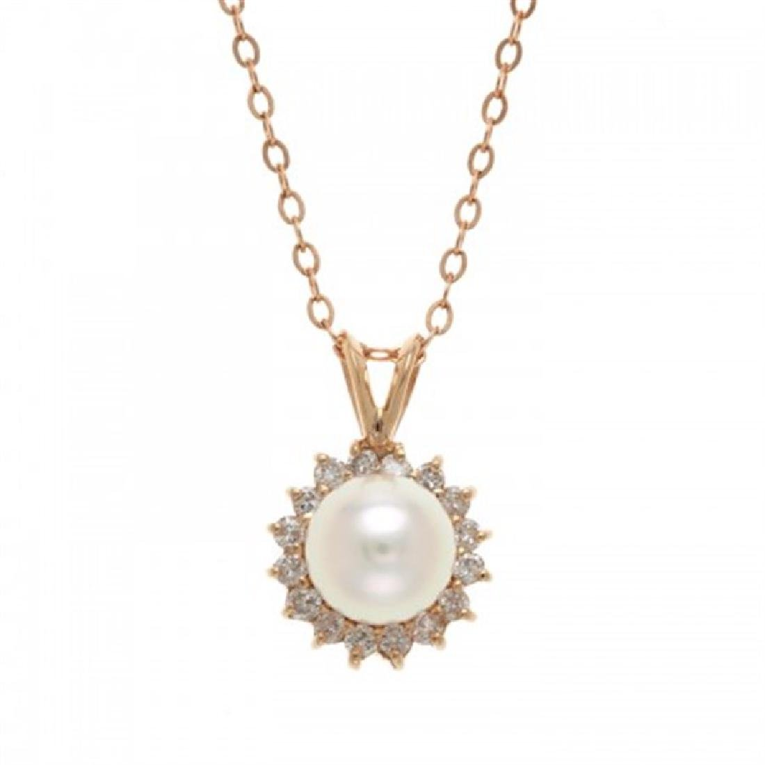 7.5-8.0mm Japanese Akoya Pendant with Diamonds