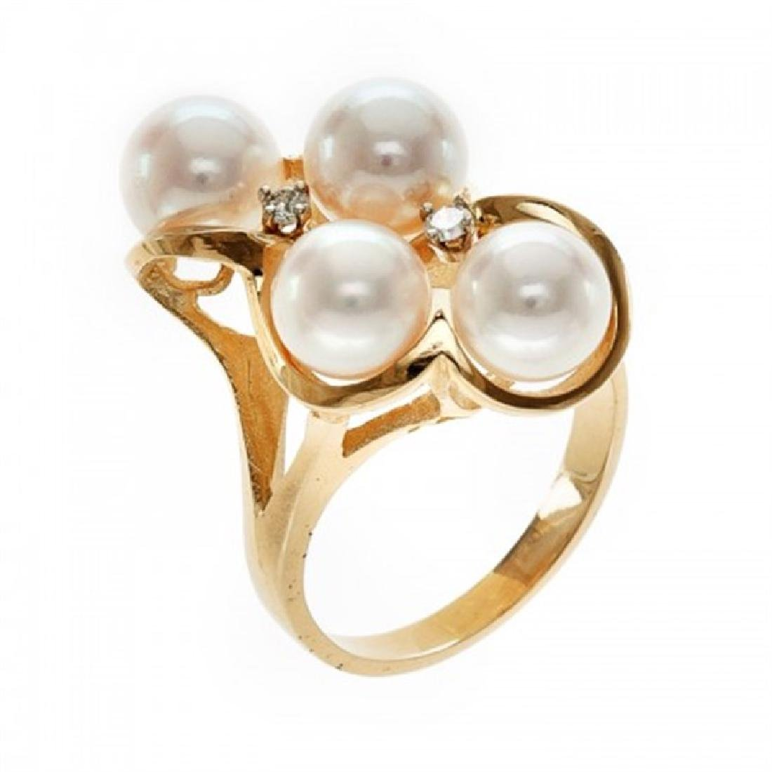 7.0-7.5mm Japanese Akoya Pearl Ring with Diamonds
