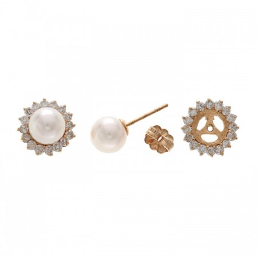 7.0-7.5mm Akoya Earrings with Diamond Jacket