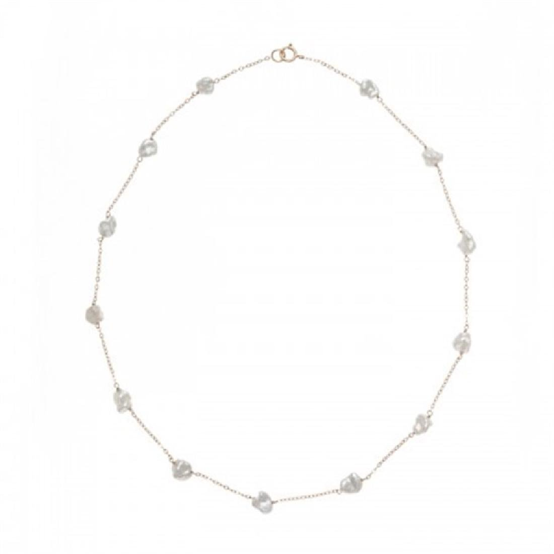 6.0-7.0mm Keshi Tin Cup Pearl Necklace