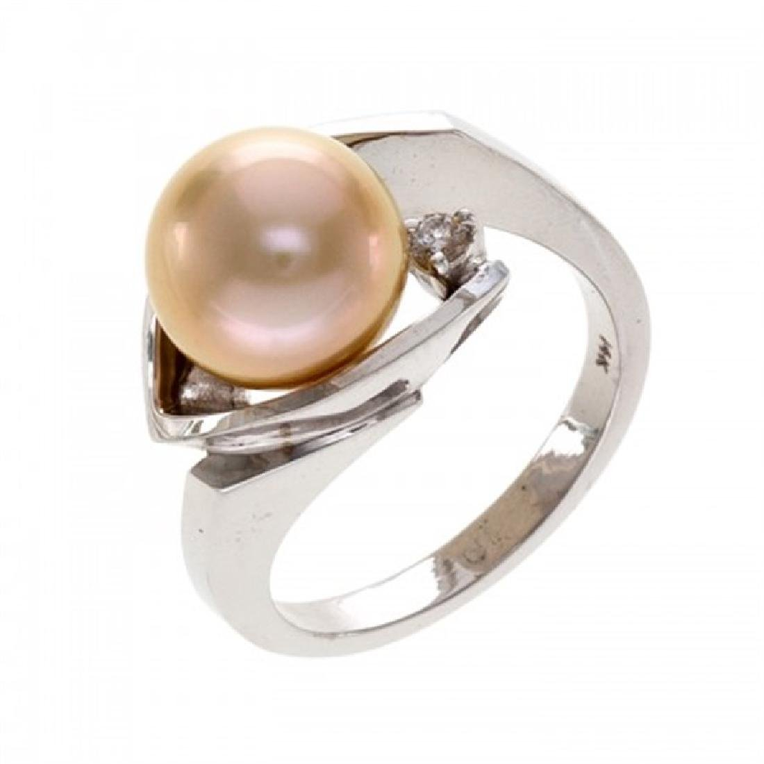 9.5-10.0mm Golden South Sea Pearl Ring with Diamond