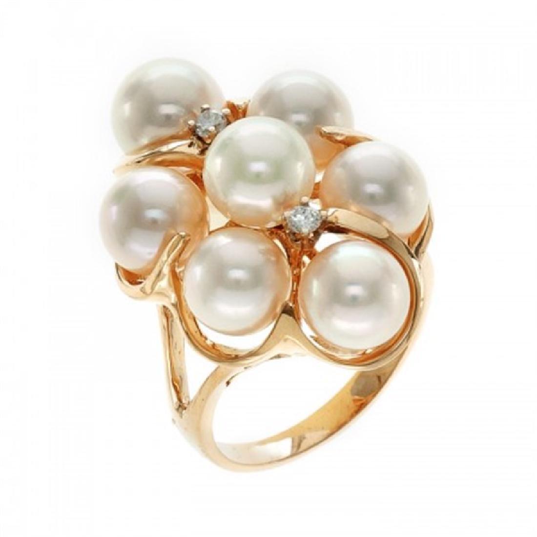 6.5-7.0mm Japanese Akoya Pearl Ring with Diamonds