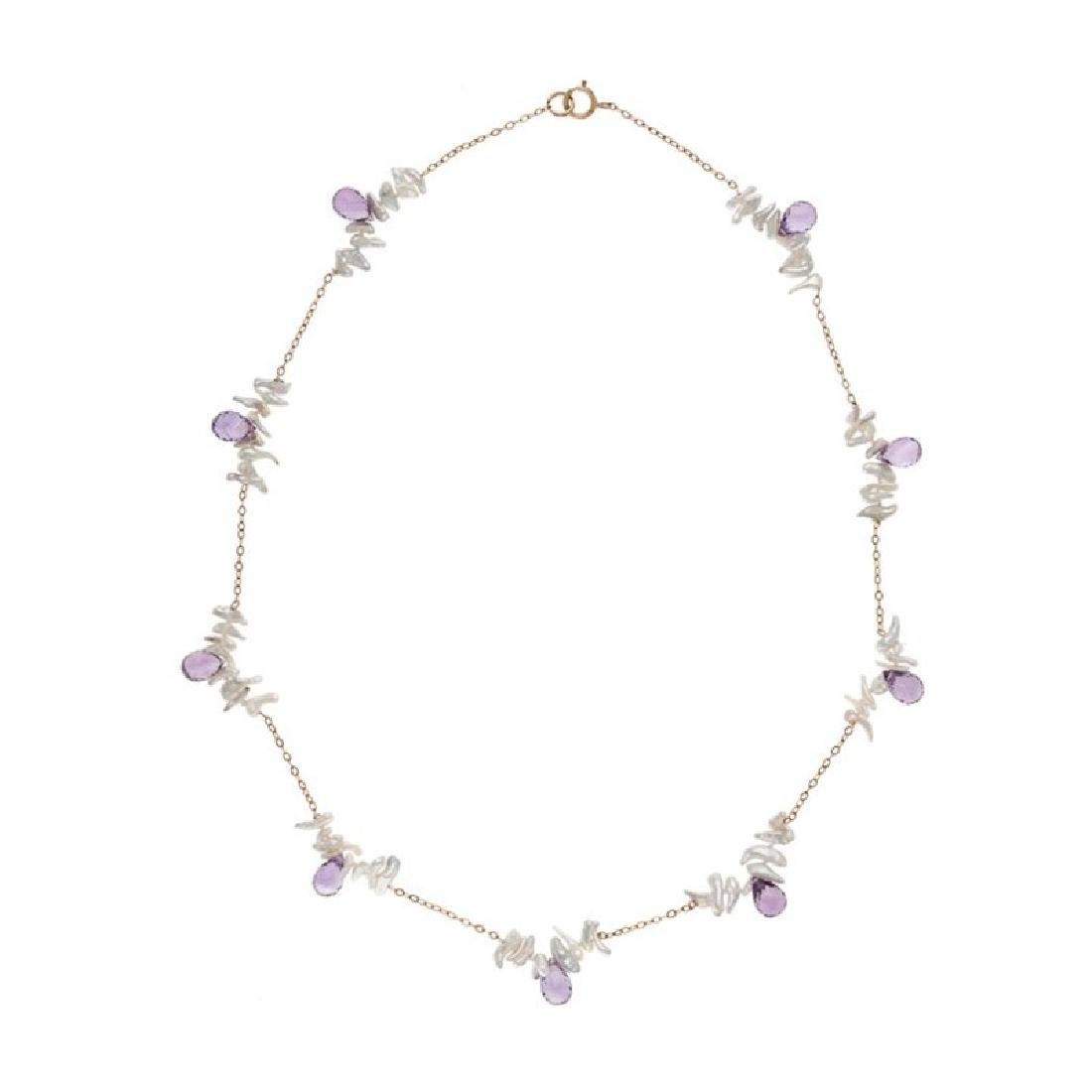Japanese Keshi Tin Cup Necklace with Amethyst