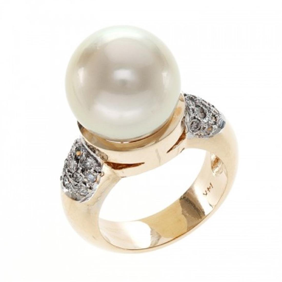 14.0-14.5mm Golden South Sea Pearl Ring with Diamonds